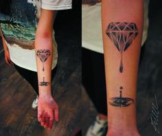 dotwork tattoo diamonds are forever