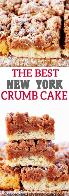 New York Crumb Cake The Best NY Crumb Cake - with a giant layer of delicious crumbs and a tender cake!The Best NY Crumb Cake - with a giant layer of delicious crumbs and a tender cake! Brunch, Just Desserts, Delicious Desserts, Light Desserts, Yummy Food, Cake Recipes, Dessert Recipes, Cake Toppings, Savoury Cake