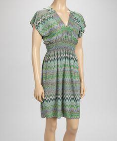 Sunrise Touch Green Zigzag Smocked Dolman Dress by Sunrise Touch #zulily #zulilyfinds