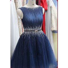Navy Blue Prom Dresses Short Rhinestones Heavily Beaded See Through Back Luxury vestidos curtos formatura CS646
