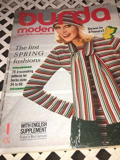 Burda Moden Magazine Vintage January 1974 with English and