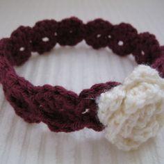 Crochet Headband - Baby Teen Adult - Raspberry with Off-White Sparkle Flower