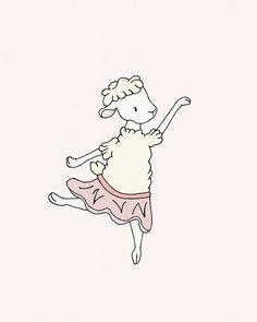 Lamb Nursery Art -- Lamb Ballerina Dance -- Girl Nursery Decor -- Lamb Art -- Sheep Nursery Art, Children Art Print, Kids Wall Art