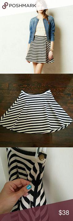 Anthropologie Swing Stripe Skirt Anthropologie stripe skirt by Greylin. Side snap/zipper closure. Skirt has a lining. Anthropologie Skirts