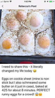 """Baked """"fried eggs"""" on a cookie sheet. Egg Recipes For Breakfast, What's For Breakfast, Breakfast Items, Breakfast Dishes, Brunch Recipes, Breakfast Sandwiches, Cooking Recipes, Cooking Eggs, Oven Cooking"""