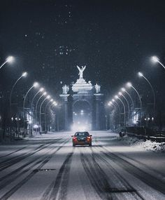 Princes' Gate, east entrance of the CNE grounds, snowy night, Toronto Ontario Canada Toronto Ontario Canada, Toronto City, Downtown Toronto, Toronto Photography, Street Photography, City Streets, Places Around The World, Architecture, Cool Pictures
