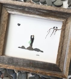 Unique Gift Pebble Art 8 x 10 Couple Art Modern Wall by SusiUhlArt