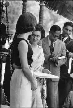 INDIA. New delhi. Visit of US First Lady Jackie KENNEDY. Here with Mrs Indira GANDHI, President of the Indian Congress CommitteeMarch 1962.