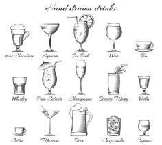 Hand drawn drinks icons by vectortatu on @creativemarket