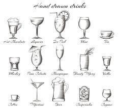 Hand drawn drinks icons by vectortatu on @creativemarket