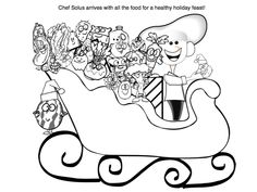 holiday sleigh picture coloring page for kids fruits and veggies by nutrition education