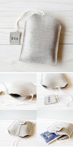 Linen Fabric Tea Bag Shape Storer