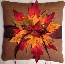 Autumn Fall Wedding ring bearer pillow with leaves C brown for a country wedding