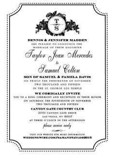 Taylor and Samuel Traditional Wedding Invitations, Elegant Wedding Invitations, Invitation Maker, Announcement, Marriage, Classic, Valentines Day Weddings, Derby, Classic Books