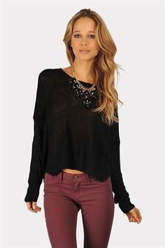 love that color for skinnies! with the Crush Me With Comfort Sweater  - Black
