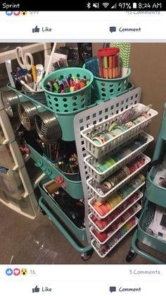 63 ideas craft storage organization ikea raskog cart for 2019 Sewing Room Storage, Sewing Room Organization, Ikea Storage, Craft Room Storage, Sewing Rooms, Organizing Ideas, Storage Cart, Organizing Clutter, Organizing Labels