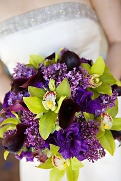 Purple wedding bouquet via Project Wedding Purple And Green Wedding, Purple Wedding Flowers, Green Flowers, Wedding Bouquets, Chartreuse Wedding, Bright Flowers, Wedding Favours, Bright Green, Dark Purple