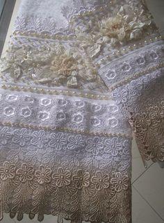 Ombré lace trimmed towel