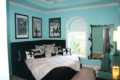 Tiffany Blue Teen bedroom, L-shape faux fur headboard, king size bedding, custom pillows.  Beauty bar with custom shaped mirrors and upholstered barstools., Girls Rooms Design Wall Colors, Corner Beds, Dreams Rooms, Tiffany Blue, Colors Schemes, Breakfast At Tiffany, Guest Rooms, Teen Girls, Girls Rooms