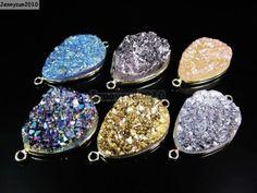 Druzy Crystal Quartz Gemstones Teardrop Connector Charm Bead Gold Plated Serging
