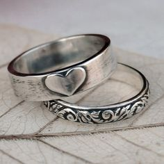 Love - Eco Friendly Recycled Sterling Silver Heart and Scroll Ring Stack - Hand Forged - Custom Size. $64.00, via Etsy.