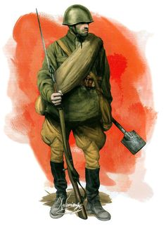 Soviet soldier on the Eastern Front 1942, goes armed with a 7.62mm M1891 Mosin-Nagan, but his shovel trench. G.Nawrocki
