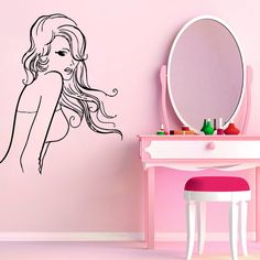 Hair Salon Wall Decals Fashion Woman Model Long Hair Beauty Salon Girl... ($18) ❤ liked on Polyvore featuring home, home decor, wall art, vinyl wall art, vinyl decals, vinyl murals, vinyl decal sticker and vinyl wall decals
