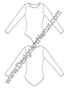 Shapewear / Dancewear Apparel Flat Sketch V8 Long Sleeve Bodysuit with Scoop Neckline