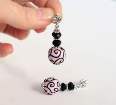 Mon Paris Glass Earrings, lampwork earrings, lampwork bead, handmade glass bead, pink and black, swirl pattern, earpins, dangle and drop