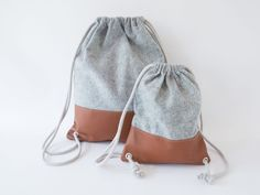 Simple leather and felt drawstring backpack - Sewing Patterns at Makerist