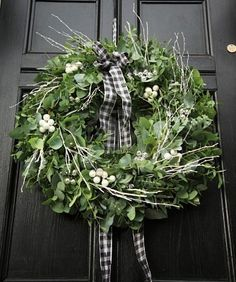 Eucalyptus Wreath on Black Door