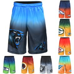 NFL Gradient Big Logo Training Shorts Elastic and String Closure100% PolyesterOfficially LicensedFront Pockets #shorts #pick #team #training #logo #mens #gradient #football