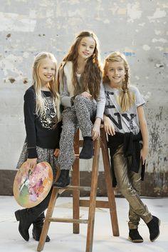 Tween fashion - Tahlia by Minihaha Gold/Black Glitter Skinny Jeans
