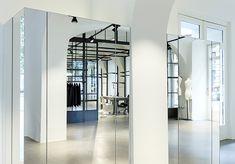 Headquarter interior design of retail fashion brand. Interior Concept, Interior Design, Mirrored Wardrobe, Fashion Brand, Fashion Design, Retail, Room, Furniture, Home Decor