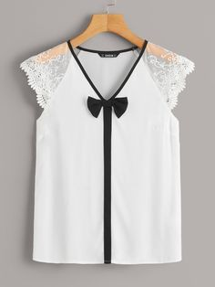 To find out about the Embroidered Mesh Raglan Sleeve Bow Detail Top at SHEIN, part of our latest Blouses ready to shop online today! Blouse Styles, Blouse Designs, Outfit Trends, Mode Style, Types Of Sleeves, Diy Clothes, Baby Dress, Blouses For Women, Women's Blouses