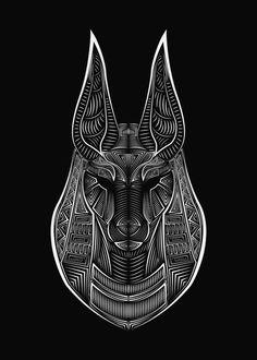 Anubis and Serpant Black and White 8x10/' Satin Finish Print