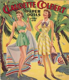 VNTGE UNCUT 1943 CLAUDETTE COLBERT PAPER DOLL SAALFIELD~PRETTY 10 PG~REPRODUCTIN