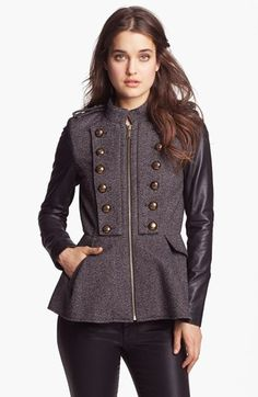BCBGeneration Tweed & Faux Leather Military Jacket