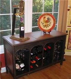 Stereo Cabinet Turned Wine Buffet Rack Furniture Console Repainting Refurbished