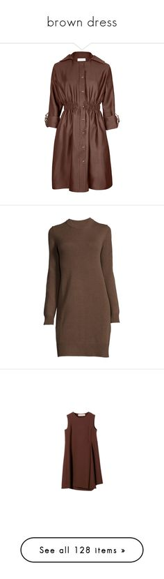 """brown dress"" by rebellious-ingenue ❤ liked on Polyvore featuring outerwear, coats, hooded coat, brown coat, silk coat, dresses, vestidos, sweaters, short dress and long sleeve sheath dress"