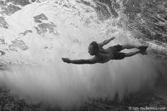 Body surfing.