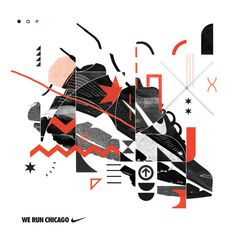 NIKE Chicago Marathon These were some initial design proposals for the Chicago marathon campaign. They did not make the cut. #nike #marathon #shoe #chicago