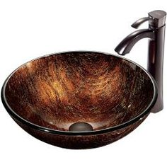 VIGO Kenyan Twilight Glass Vessel Sink and Faucet Set in Oil Rubbed Bronze. overstock $244.49