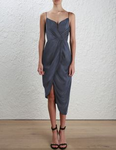 Zimmermann Sueded Silk Plunge Short Dress. Model Image. Our model is 5 8 and is wearing a size 0