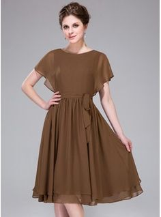 A-Line/Princess Scoop Neck Knee-Length Cascading Ruffles Zipper Up Sleeves Short Sleeves No Brown Spring Summer General Plus Chiffon Bridesmaid Dress Cheap Wedding Guest Dresses, Wedding Party Dresses, Bridesmaid Dresses, Elegant Dresses, Casual Dresses, Fashion Dresses, Formal Dresses, Shifon Dress, Frock For Women