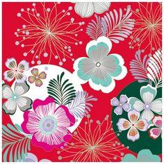 Le motif fleuri de ce papier cadeau évoque les tissus des plus beaux kimonos et obi traditionnels.