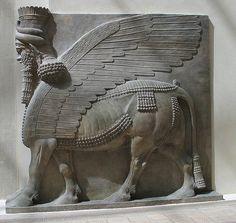 Winged human-headed bull (Lamassu)  Neo-Assyrian Period, reign of Sargon II (721-705 BC)  Khorsabad, ancient Dur Sharrukin, Assyria, Iraq