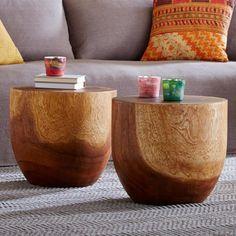 Bon Handcarved Wooden Drum Table