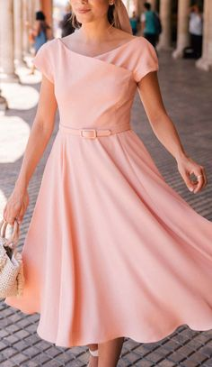 92629be4a Belted blush swing dress Gal Meets Glam, Fit Flare Dress, Swing Dress, Dress