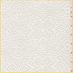"""Ivory Crochet Knit  Item#: 19504      Solid Ivory  Lightweight Crochet Stretch Knit Fabric  with Floral Medallion Design  Suitable for Blouses, Dresses & Overlays  97% Polyester  3 % Lycra  57"""" wide  Machine Washable  5.25 per yard"""